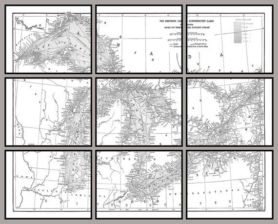 This a reproduction of a map of the Great Lakes. The map is divided into nine 11 x 14 panels/sections. When framed in simple frames the overall area covered by the map can be from 44 x 35 and larger based on the spacing between panels. Map can be colored in any combination of colors. Mat and frames not included.  Contact me with any questions.