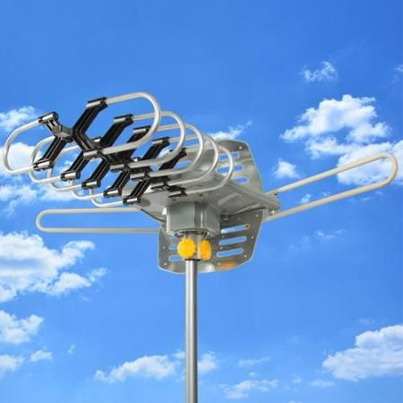 HDTV Rotor Remote Outdoor Amplified Antenna 360° UHF/VHF/FM HD TV 150 Miles - Walmart.com
