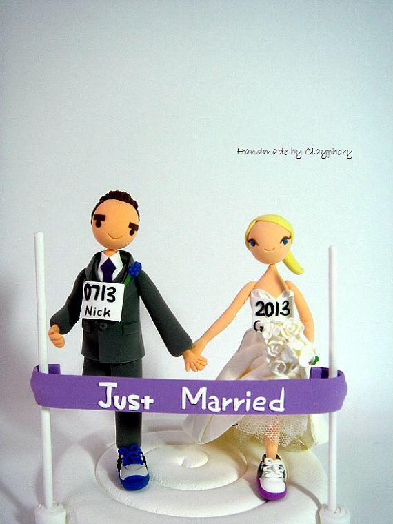 Marathon runners customized wedding cake topper | wedding ...