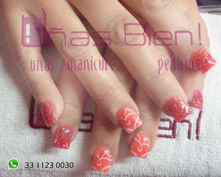 #nails #shiny #glitter #pink #orange