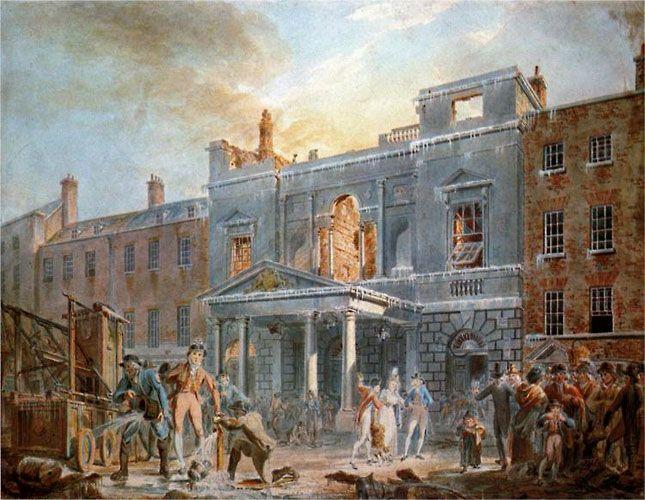 Уильям Тернер. Пантеон, утро после пожара. 1792 г. Пантеон, представлявший собою ротонду, созданную по римскому образцу, находился на Оксфорд-стрит. Сюда стекалась местная публика, охочая до развлечений. Тернер, которого наняли для работы над декорациями здания, получал в неделю приблизительно четыре гинеи (сегодня это £400), но главное то, что приобретался бесценный опыт написания большеразмерных картин.