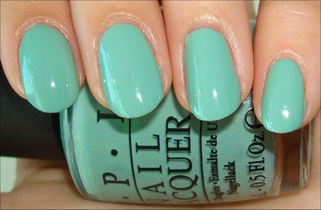 OPI Pirates of the Caribbean On Stranger Tides Collection from 2011: Mermaid's Tears. A pastel dusty turquoise mint cream polish. This photo was taken with a flash light. In natural light it's a bit more dusty and not so bright. Anyway a must wear for this spring too. Beautiful.