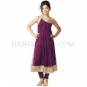 $83 Wine net anarkali suit is with diamante work.It comes with wine churidar and matching dupatta.