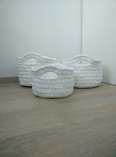 Crochet White baskets