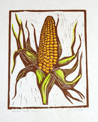 Harvest Corn  Linocut Print by kirayustak on Etsy
