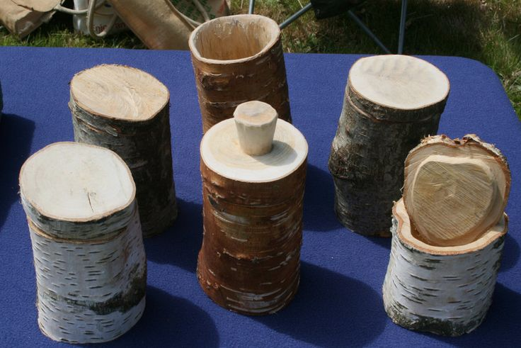 Birch Shrink pots made from local silver birch.The birch branch is hollowed out, a groove is made 5mm from the base and a hardwood seasoned base is shaped so it will fit the base groove.Allow to dry and the pot will shrink onto the base.Lids can be added.Will be adding more photos of this process.Used by the Vikings and still in use in Eastern Europe today.They are air tight and can be made water tight.Sustainable wooden storage pots.No glue,screws or nails.