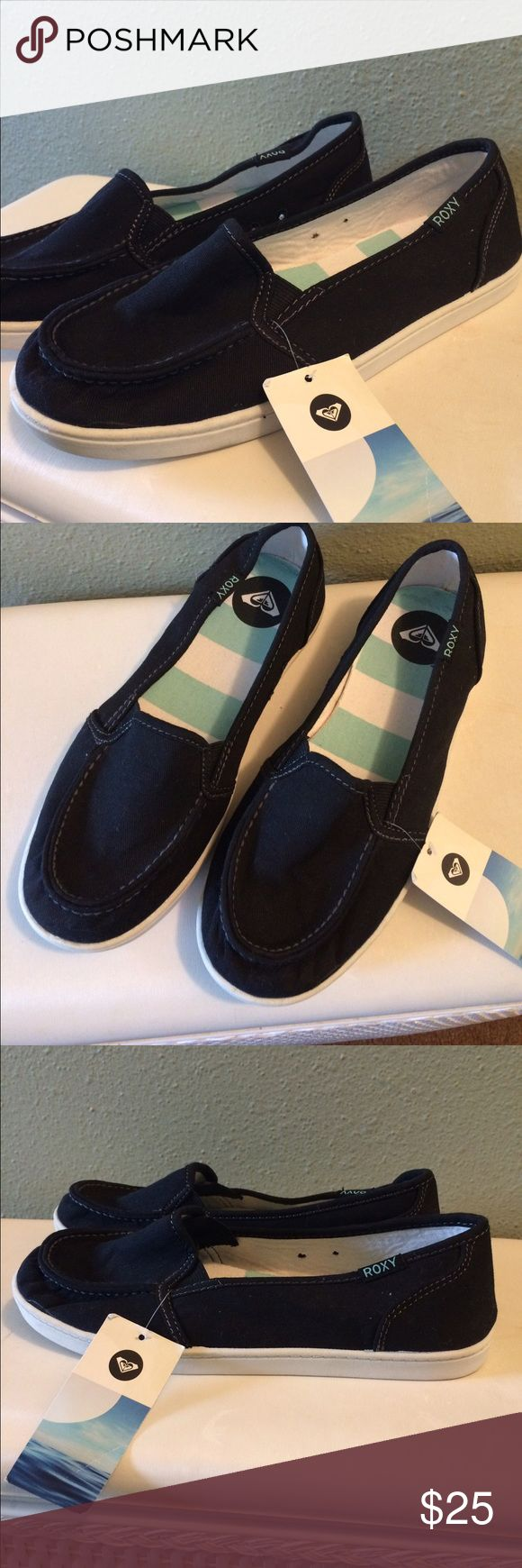 Roxy Black & White Slip On Loafers Size 8 NWT New never worn, slip on loafers very comfortable, size 8, canvas material and white rubber sole, open to reasonable offers 😊 Roxy Shoes Flats & Loafers