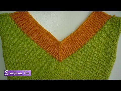 V-образный ВЫРЕЗ ГОРЛОВИНЫ. Вязание спицами #164 - YouTube