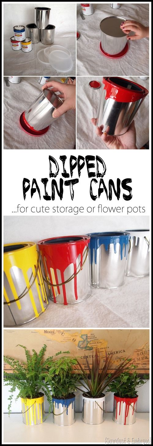 DIY Dipped Mini Paint Can Planters - Buy plain empty quart paint cans and dip them in paint for fun planters or cute storage!  They make fun gifts for gardening lovers! {Reality Daydream}