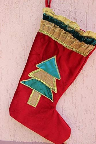 Velvet Christmas Stockings Burlap Teal Red Options