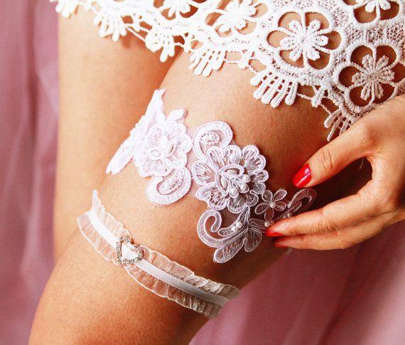 Wedding Garters Bridal Garter Set - Rustic Boho Wedding Garters Flower Lace Garter - Vintage Inspired - Prom Garter