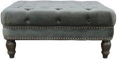Block & Chisel grey velvet upholstered button tufted ottoman