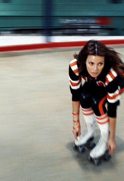 Raquel Welch on skates, 1972.