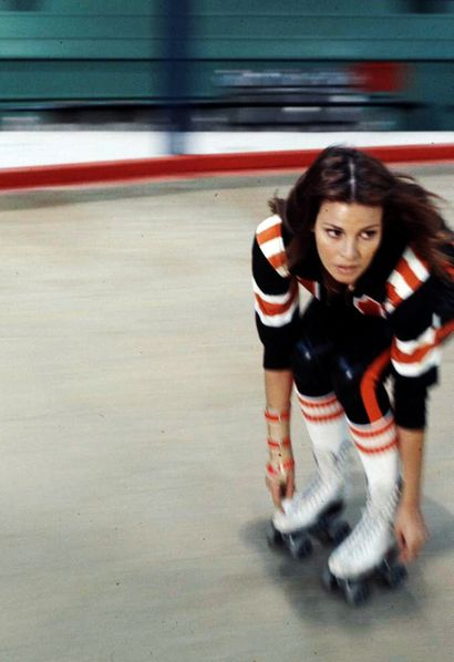 Raquel Welch on skates, 1972.  Remembering all of the fun weekends at Jimmy's in Bushnell in the 19 80's