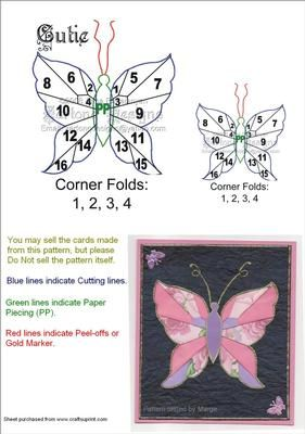 Cutie Butterfly Iris Folding on Craftsuprint designed by Anna Babajanyan - Here is another one of my butterfly designs. This pattern can be used for many different occasions and is also easy in cutting and folds. - Now available for download!