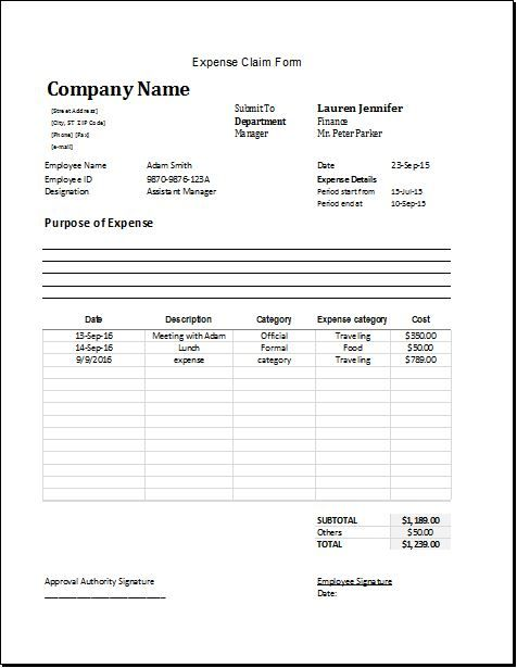 expense claim form download at       bizworksheets com  expense
