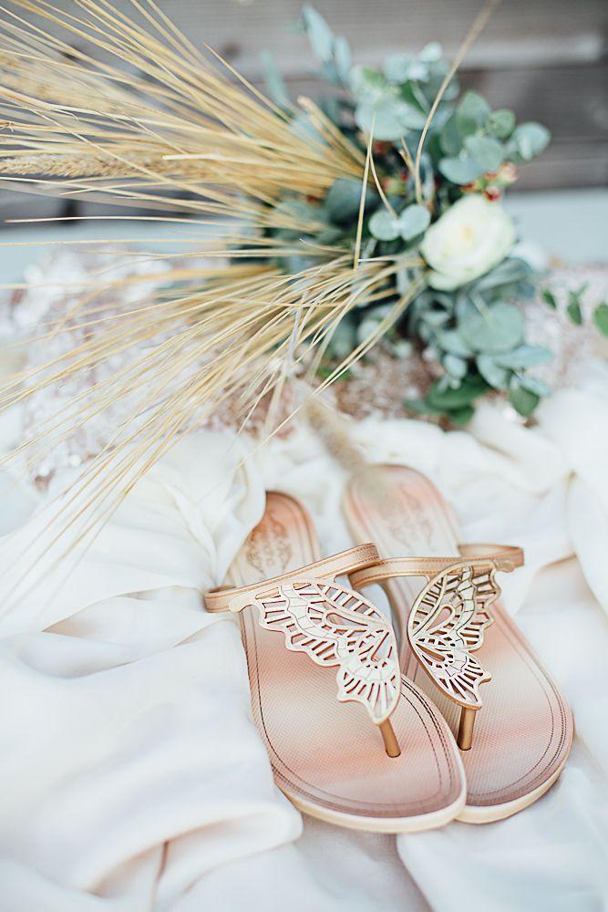 Brautschuhe flach rosegold Schmetterling