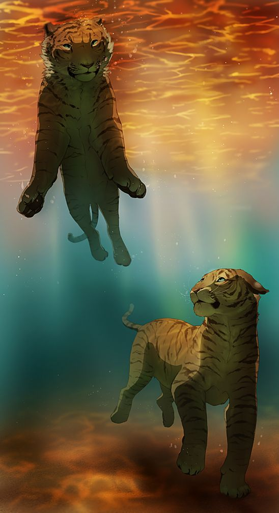 Sphinx and Emma, whip was given a tribal and turned into a tiger, dove underwater in the Golden Lake.