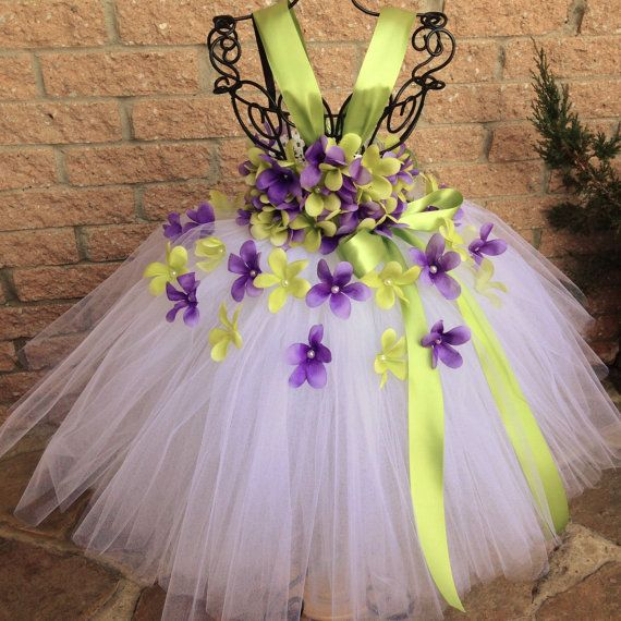 PURPLE and GREEN FLOWERS. Tutu Dress. Flower Girl Gown. Birthday Tutu Dress…