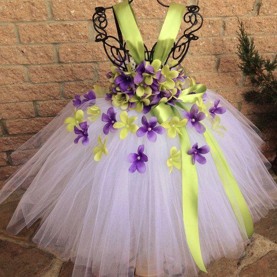 PURPLE and GREEN FLOWERS.  Tutu Dress.  Flower Girl by ElsaSieron