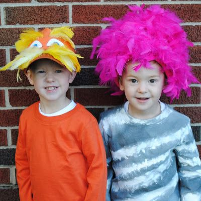 Hand made Lorax and Truffula Tree costumes, coordinating costumes, awesome costumes
