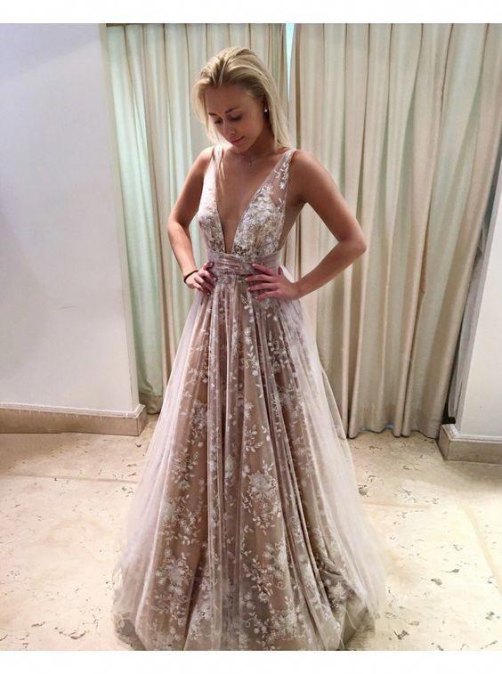 0e2216a7f9 Sexy A-line Deep V Neck Prom Dress