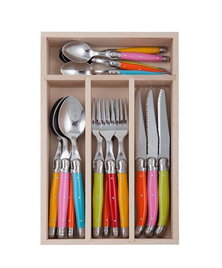 Andre Verdier Laguiole Debutant Cutlery Set 24pc Spring