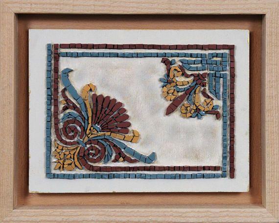Greek Hellenistic Anthemion Mosaic Art Original Handmade Wall