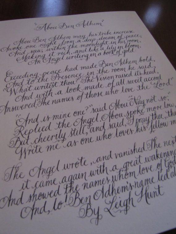 Handwritten Calligraphy Poem on 8.5 x 11 Textured White or ...