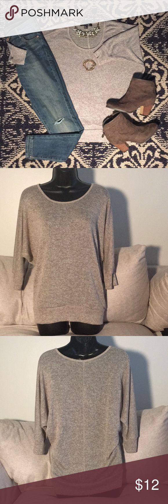 Lightweight Sweater • Goldish/Tanish stretchy semi sheer top • Cocoon sleeves • Cinches at the hem giving a defined shape to your top half • 49% Polyester, 44% Rayon, 7% Spandex Forever 21 Sweaters Crew & Scoop Necks