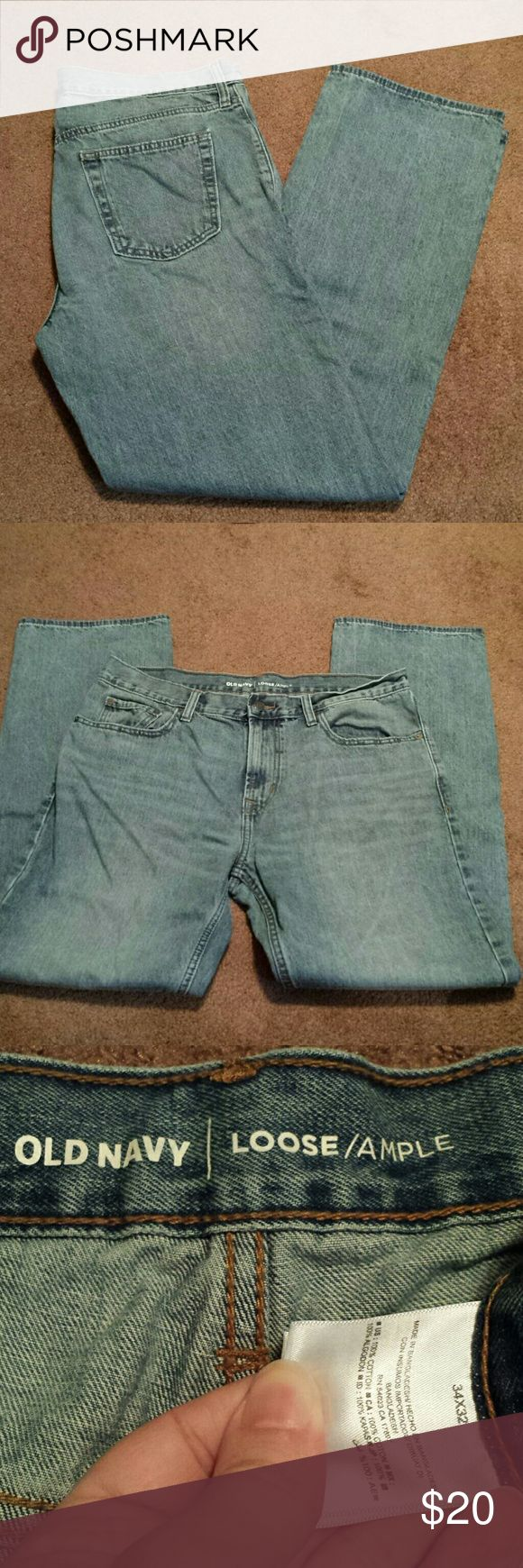 Mens old navy light wash Size 34x32 loose fit jeans. My husband only wore them once. Old Navy Jeans Relaxed