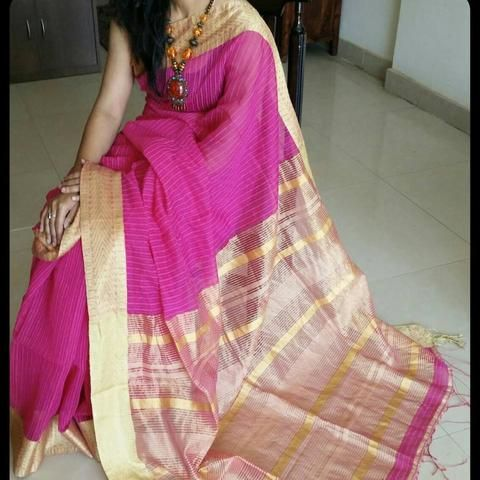 Magnificent magenta handloom silk cotton saree