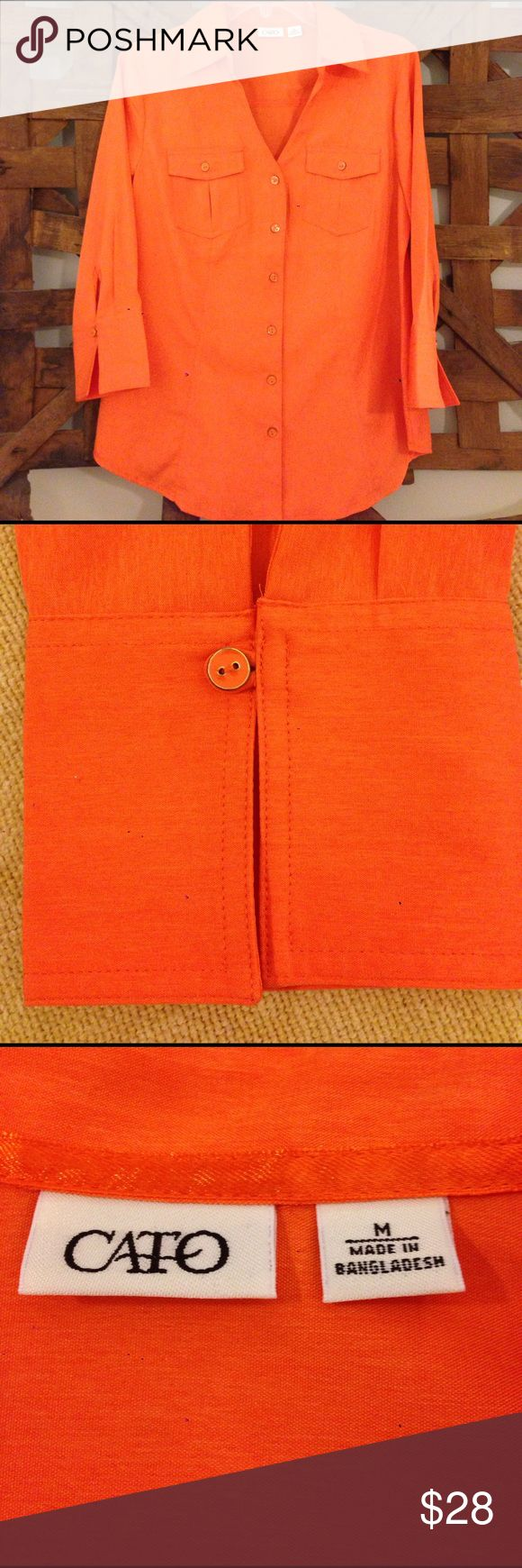 Cato Spring Orange Blouse New Blouse from Cato, bright orange, size M, 3/4 sleeves, front pockets, great looking enamel buttons Cato Tops Blouses