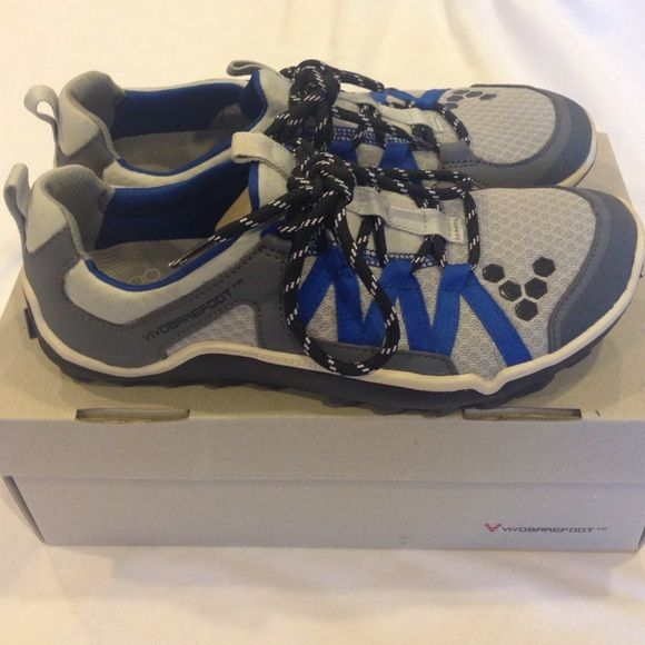 Vivobarefoot sport shoes size 7.5 (men's) Worn  once .excellent condition . color gray/royal blue. Vegan no leather. Box including.  Open to any reasonable offer . Vivobarefoot Shoes Athletic Shoes