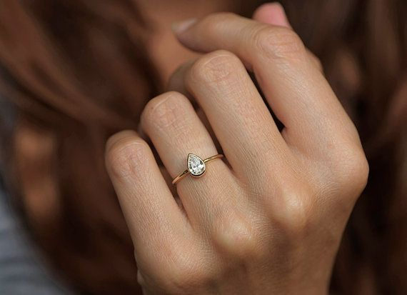 0.5 Carat Pear Diamond Ring Pear Cut Engagement Ring by capucinne
