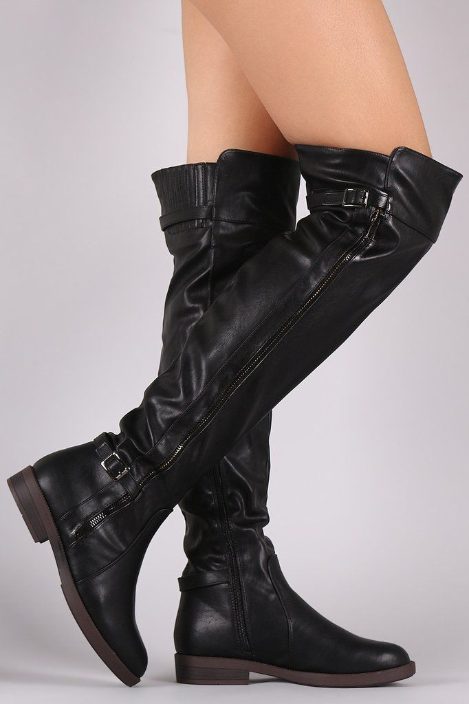 Slouchy Buckled Riding Boots – Style Lavish