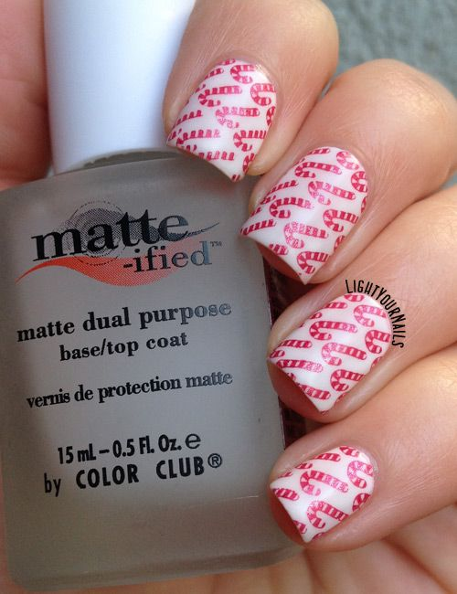 Matte Candy Cane Nail Art | Light Your Nails