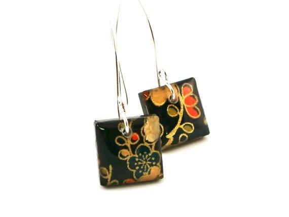 Square Resin Earrings in Japanese Sakura Flower by Jackdaw on Etsy, $20.00