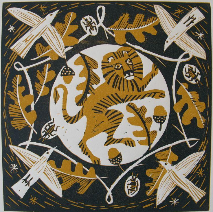 """Acorn Lion"" by Mary Sumner (linocut)"