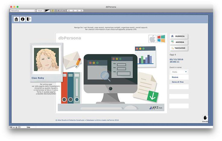 Schermata di apertura, personalizzabile.  dbPERSONA è l'agenda personale per computer desktop (Windows e MacOs) in cui inserire recapiti telefonici, indirizzi dei propri contatti, privati e professionali, pianificare un'attività, un'evento, prendere appunti suddividendo in tipologie e tag i propri taccuini e collegare gli appunti al relativo evento.  Prezzo Euro 179,00 https://www.alkestudio.it/blog/prodotto/dbpersona/