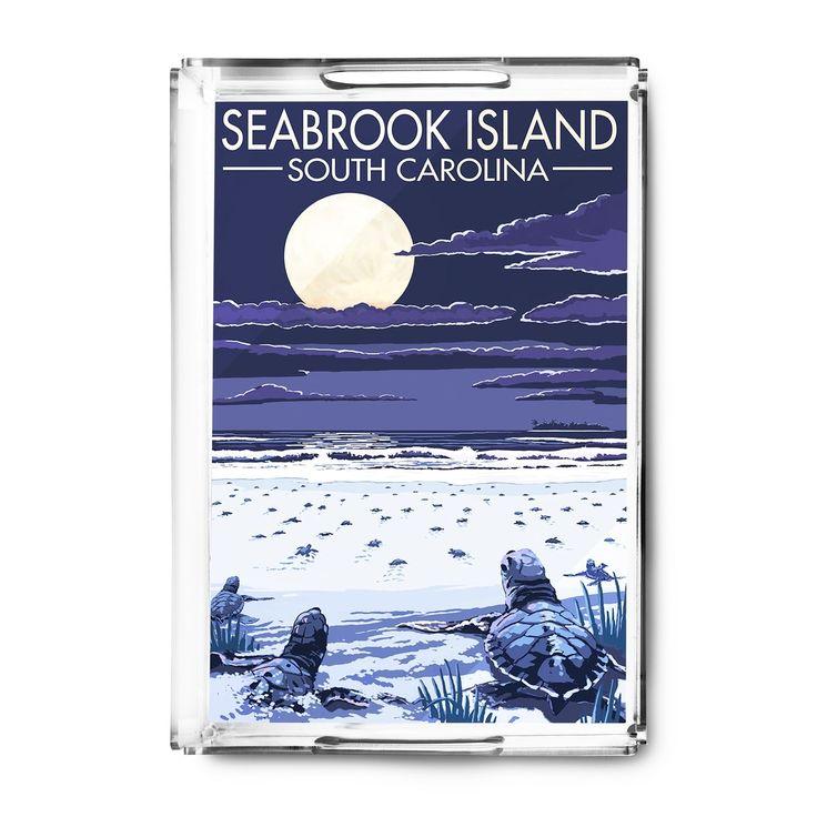 Seabrook Island (Blue) SC Sea Turtles Hatching LP Artwork (Acrylic Serving Tray)