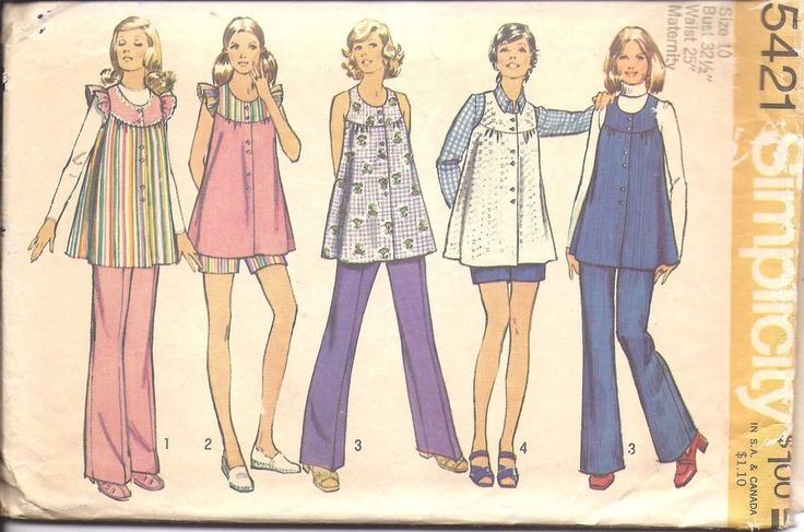 5421 Vintage Simplicity Sewing Pattern Misses Maternity Smock Top Pants Button #Simplicity