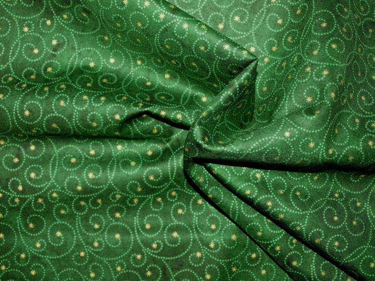 Designerstoffe USA - Weihnachtsstoff goldene Sterne grün - ein Designerstück von blockhaus bei DaWanda