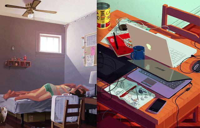 GIF Illustrations by Rebecca Mock  L'illustratrice Rebecca Mock fait de belles illustrations en gifs animés pour différents médias web. Les illustrations s'inscrivent dans l'ère contemporaine en mettant en scène des personnages dans les transports, tenant un iPad ou alors un bureau désordonné avec un iPhone qui vibre et une tablette graphique.