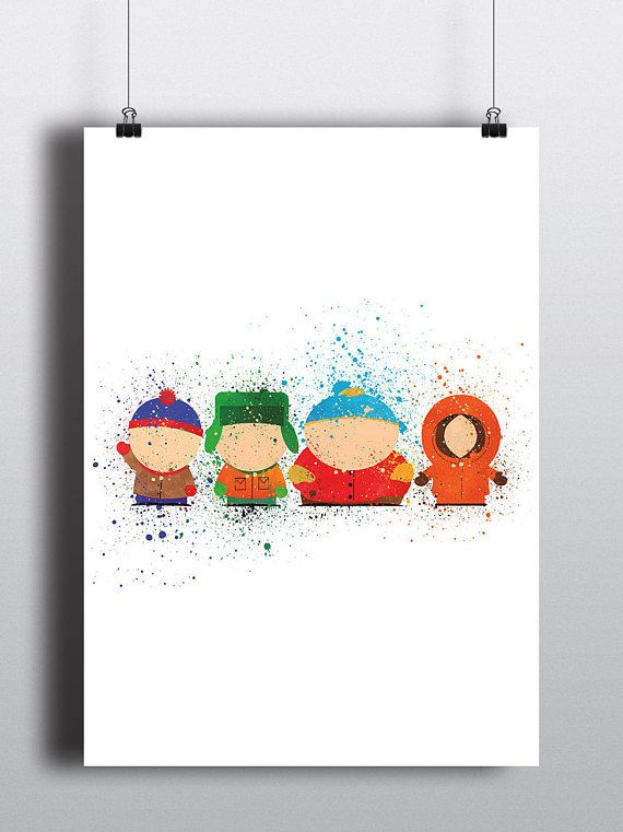 South Park Inspired Poster Print   Watercolour   A2 Size-Resizable   Digital Download   Stan, Kyle, Cartman, Kenny   Tv Show Art  Minimalist