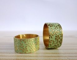 MINT mattgold Patina floral Messing Ring