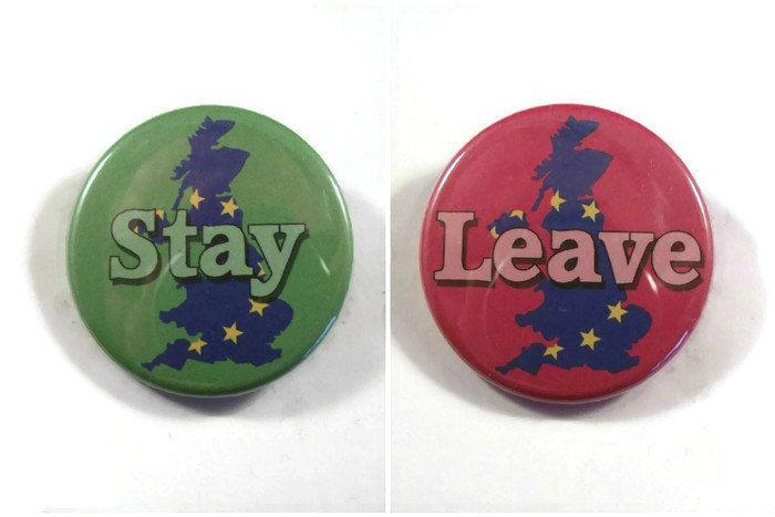 "UK-EU Referendum. Pin/button Badges. 'Stay' or 'Leave' Europe. 38mm (1.5"") by BadjjDesign on Etsy"
