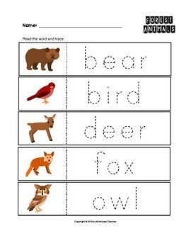forest animals trace the words worksheets preschool kindergarten handwriting practice. Black Bedroom Furniture Sets. Home Design Ideas