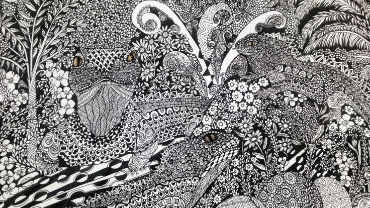 Tuatara Zentangle zendoodle