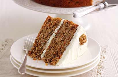 For this classic carrot cake recipe, it's important to use full-fat cream cheese for the icing; if you use a low-fat version, the icing will just run off the cake.
